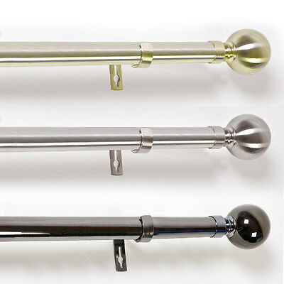 Metal Eyelet Curtain Pole - 19Mm / 25Mm Poles - Sphere/round Finials