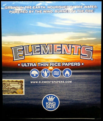 ELEMENTS PAPER ULTRA THIN RICE Rolling Papers KING SIZE Full Box 50 Pk Cigarette