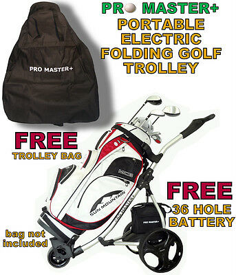 Digital Electric Power Promaster Plus Folding Cart Golf Trolley 36 Hole Battery