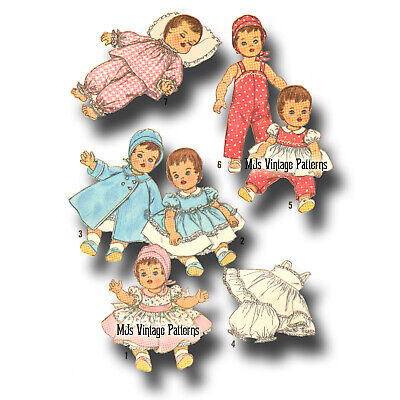 "Vtg 15"" 16"" Doll Clothes Pattern ~ Betsy Wetsy, Dy Dee, Tiny Tears, Thumbelina"