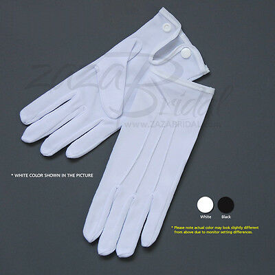 White & Black Nylon Formal Men's Gloves with Snap Closure - Various Sizes