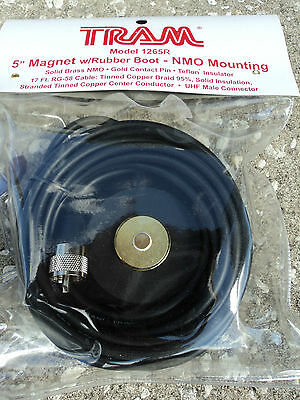 "TRAM 5"" Magnet NMO Mounting W/ Rubber Boot UHF Male - Antenna Mount PL-259 17'"