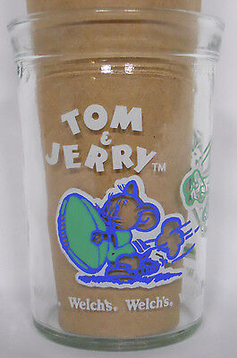 VINTAGE! 1992 Welch's Tom & Jerry Jelly Glass-Football-Blue and Green