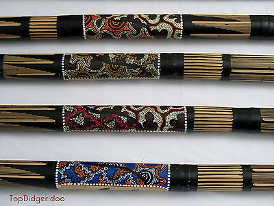 "39"" Authentic Bamboo Rain stick Handcarved Dot-Painted Shaker VINTAGE Rainmaker"