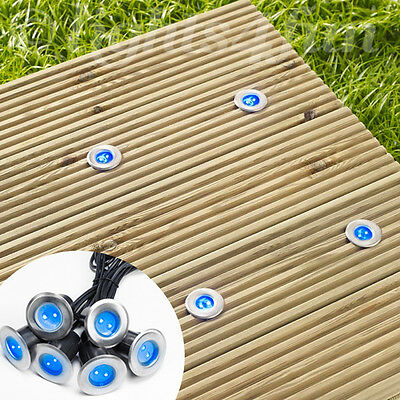 6 Solar Power Blue LED Stainless Steel Decking Deck Outdoor Garden Path Lights