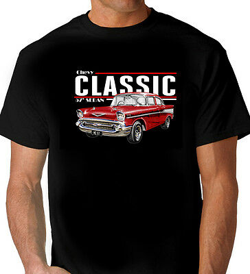 57'  Chevy  Sedan  4 Door  Black  T-Shirt  Top Quality  Men's Ladies Kids Sizes