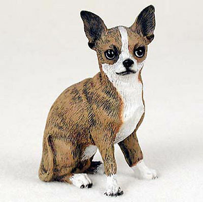 Chihuahua Figurine Hand Painted Collectible Statue Brindle