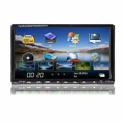 Dual Din Radio TFT 7 Inch Touch Screen Car Stereo DVD Player iPod Bluetooth TV