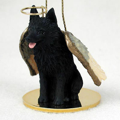 Schipperke Dog Figurine Angel Statue Hand Painted
