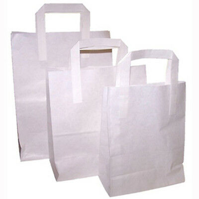 250 x SOS White Small Paper Bags Kraft with Handle Food Sandwich Takeaway
