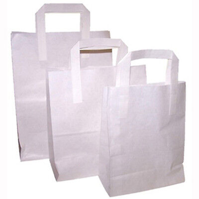 250 x SOS White Medium Paper Bags with Handle Food Sandwich Takeaway