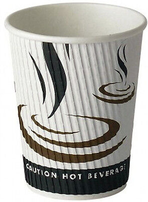 500 x 16oz Paper Coffee Cups Ripple Weaved Tea Hot Drinks Disposable Insulated