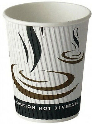 25 x 16oz Paper Coffee Cups Ripple Weaved Tea Hot Drinks Disposable Insulated