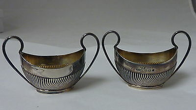ANTIQUE PAIR OF STERLING SALT CELLARS SHEFFIELD  IMPORTED TO SWEDEN MARKS 76.4g