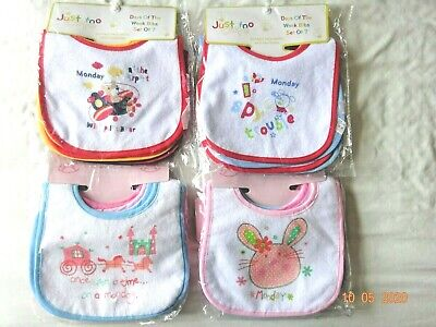 1 Pack of 7 Day a Week Designs Baby Plastic Backed Bibs Birth Newborn Small 0-6