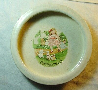 NICE OLD GLAZED POTTERY CHILDREN'S DISH w/ CHILD & KITTENS PICTURED IN MIDDLE