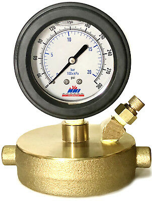 """NNI 2-1/2"""" NST Fire Hydrant Static Pressure Cap Gauge with Draincock"""
