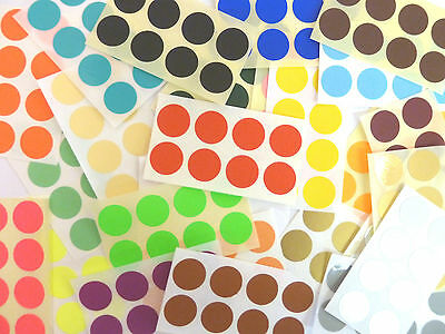 19mm Round dot Stickers Coloured Circles Circular Sticky Labels - 32 Colours