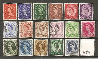 WILDING DEFINITIVES -A36- 17 VALUES - COMMERCIALLY USED