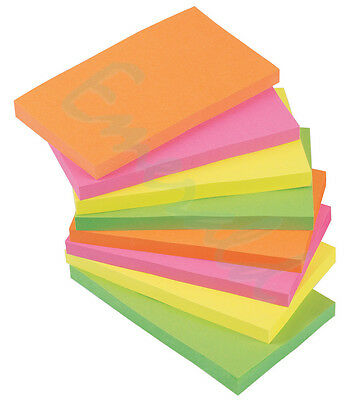 """1200 NEON Remove It Stick Post Sticky Notes 76mm x 127mm 3"""" x 5"""" 12 packs of 100"""
