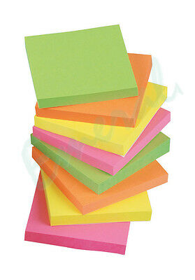 """1200 NEON Remove Sticky Post Notes 76mm x 76mm 3"""" x 3"""" (12 packs of 100)"""