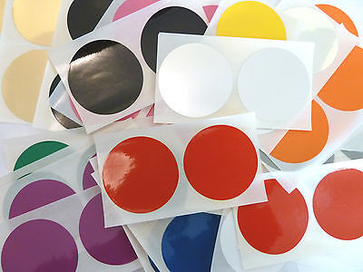 50mm (2 inch) Round Plastic Vinyl Dot Stickers, Coloured Circular Sticky Labels
