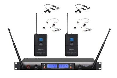 GTD Audio 2x100 Ch UHF Wireless Lavaliere Lapel Headset Microphone System 622LL