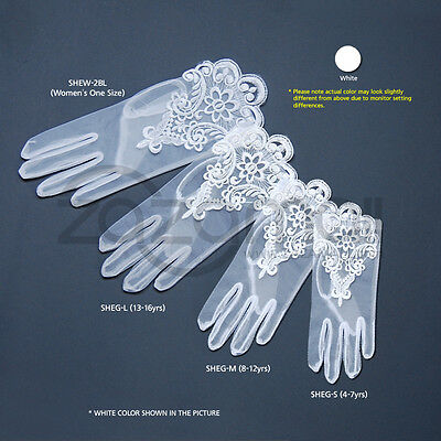 Gorgeous Girl's Embroidered Sheer Gloves - Various Sizes