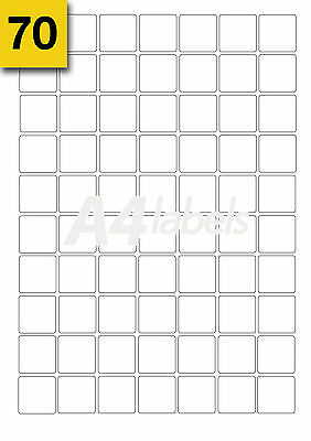 Square Blank White A4 Laser Printer Labels. (25mm x 25mm) x 1400 (20 Sheets)