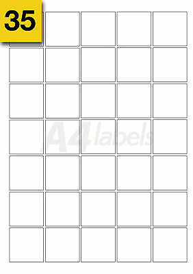 Square Blank White A4 Laser Printer Labels. (37mm x 37mm) x 700 (20 Sheets)