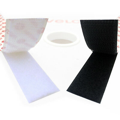 Stick On VELCRO® Brand Black or White Self Adhesive Tape Per 1 Metre Hook & Loop