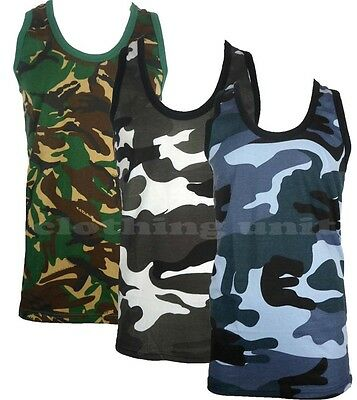 Mens Camouflage Sleeveless Cotton Vest Army Combat Gym Muscle Big S-5XL