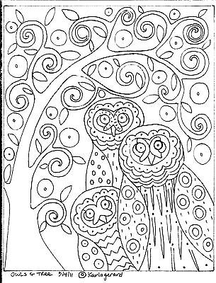 Rug Hook Craft Paper Pattern OWLS AND TREE Folk Art Primitive ABSTRACT Karla G