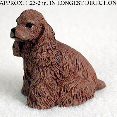 Cocker Spaniel Collectible Mini Resin Hand Painted Dog Figurine Brown
