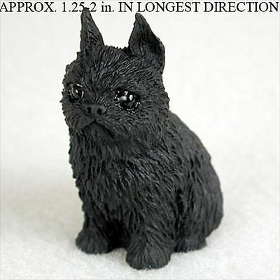 Brussels Griffon Collectible Mini Resin Hand Painted Dog Figurine Black