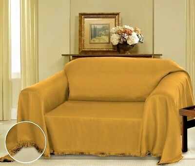 Gold Cielo Jacquard Furniture Throw Cover Fancy Fringe Border Slipcover Sofa