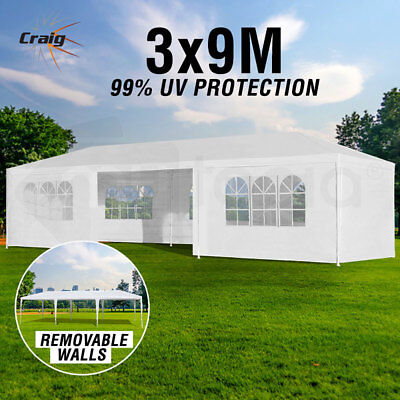 3x9m Gazebo Party Wedding Marquee Event Pavilion White Tent Shade Canopy Folding