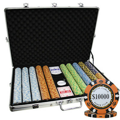 1000 14G Monte Carlo Casino Clay Poker Chips Set 3-Tone New