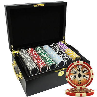 500 14G High Roller Clay Poker Chips Set Mahogany Case