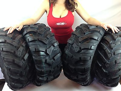 Tire Kit For All 98-12 Yamaha Grizzly 2 FRONT 25-8-12 & 2 REAR 25-10-12 TIRES