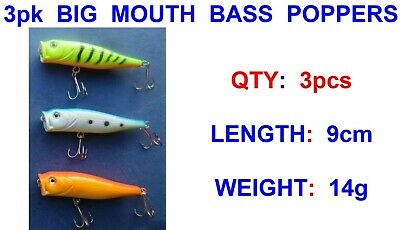 3 pk BASS POPPERS GAME COARSE SEA FISHING SPINNING ROD LURES PIKE PERCH ZANDER