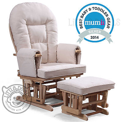 CREAM SUPREMO BAMBINO Nursing Glider Rocking Recliner Maternity Chair With Stool