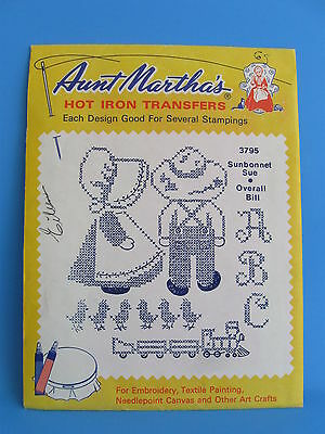 Aunt Marthas Hot Iron Transfers 3795 Sunbonnet Sue & Overall Bill
