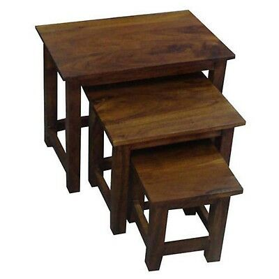 Nest Of Tables Lisbon Range Side End Lamp Plant Stands Solid Acacia Wood