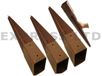 New 75Mm Heavy Duty 4 X Metal Fence Post Garden Spike Holder Rust Resistant