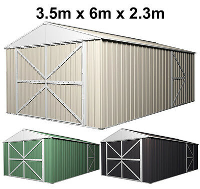 Steel Garden Shed 3.45m Wide x 6m Deep x 2.3mHigh Tools Storage Workshop Garage