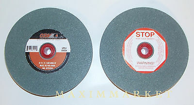 "Lot of  Two 6""x1""x1"" CGW Green Silicon Carbide Grinding Wheels for Bench Grinder"