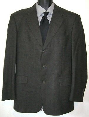 Austin Reed Wool Gray Windowpane 3 Button Sport Coat Jacket Blazer Men's Sz 39 R