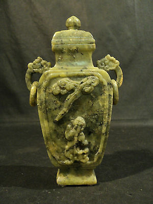 VINTAGE CHINESE CARVED GREEN SOAPSTONE LIDDED VASE with OPENWORK HANDLE