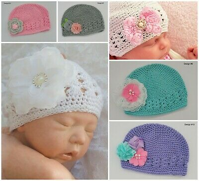 Baby Beanie Hat Cap Newborn 0-3 Months Crochet Kufi Flower Vintage Winter Cotton